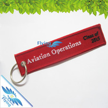 New Arrival Remove Before Flight Keyring Luggage Tag Zipper Pull Woven Embroidery Keychain