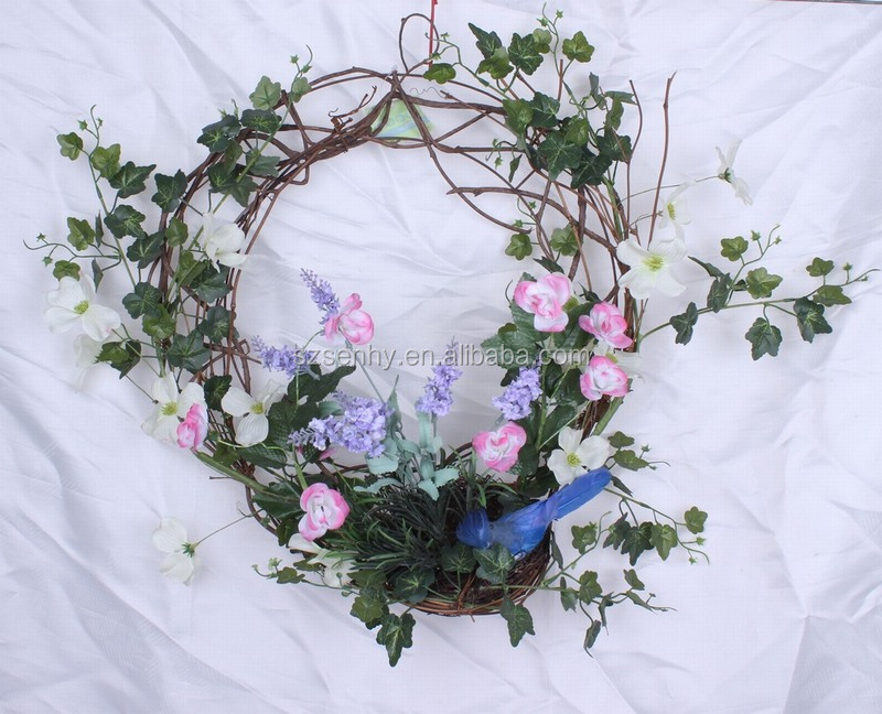 2016 Natural Wooden Decorated Willow Purple Easter Wreaths