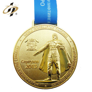 Wholesale custom zinc alloy embossed sports weightlifting gold medal