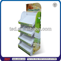 TSD-C641 corrugated cardboard bedding display stand/pop bedding cardboard display/paper retail display stand for bedding