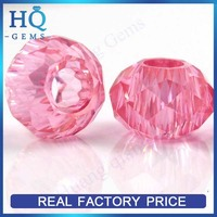 Pink round shape bead big hole raw cubic zirconia checker cut prices of gems