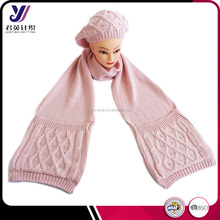 Women winter pink knitted scarf and hat set with bead pocket
