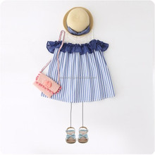 Factory price striped cotton dress kids clothes summer stripe cotton baby girl dress