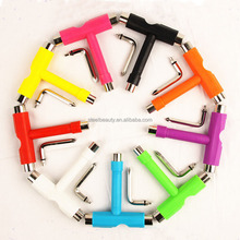 Hot sale original all in one skateboard tool multi-function roller skateboard skate T shape tool with 9 colors choices