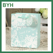 Light Blue Butterfly Print Gift Packaging Paper Bags With Ribbon