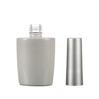 Fancy Round Or Cylinder Shape 15Ml Empty Clear Nail Polish Glass Bottle With Uv Matte Silver Cap