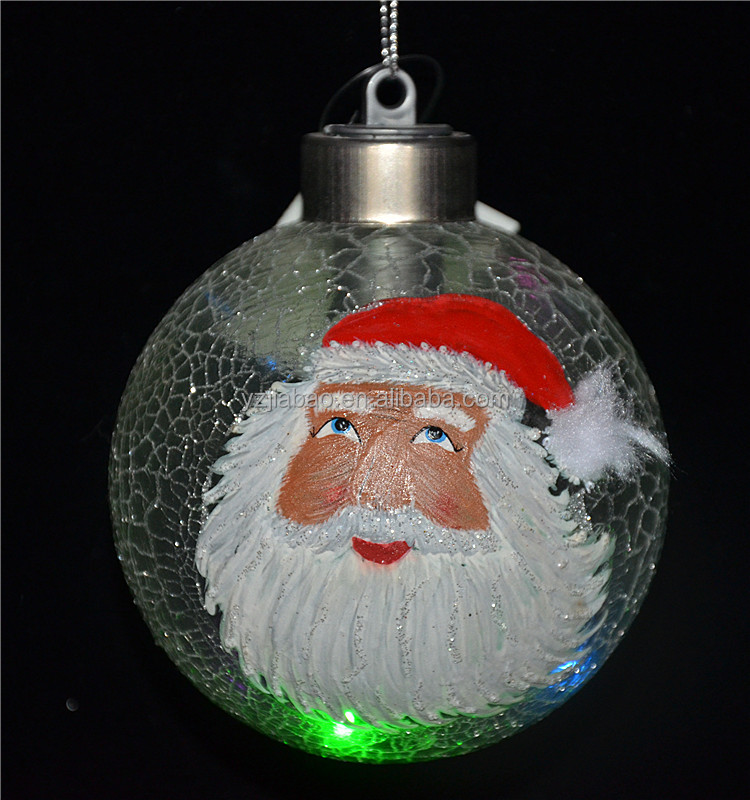 New christmas decoration themes christmas lighted ball ornaments with head of santa claus from china manufacturing company