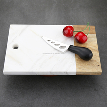 Rectangle Marble and Wood Cheese Board White