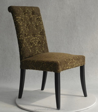 Antique tufted roll back button wood dining chair