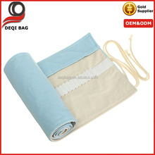 Easy Carrying OEM Eco Canvas Roll Up Pencil Case
