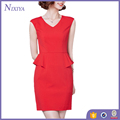 Sleeveless V Neck Knee Length Bodycon Peplum Korean Dress 2016