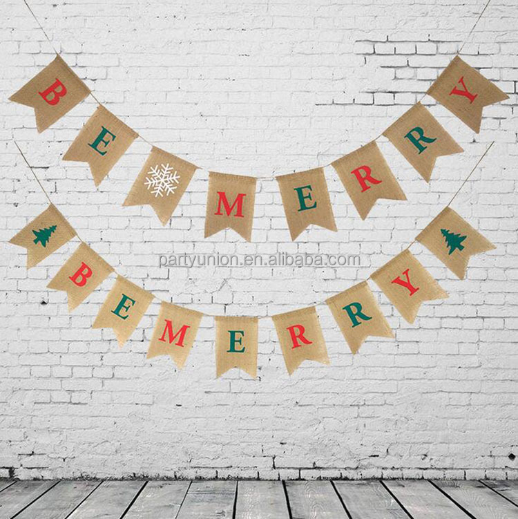 High Quality Burlap BE MERRY Letter Christmas Hanging Banner Swallowtail Flag Decoration Banner