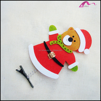 Lovely Fabric Covered Christmas Bear Animal Alligator Hair Clips For Kids Cos Hair Accessories Wholesale