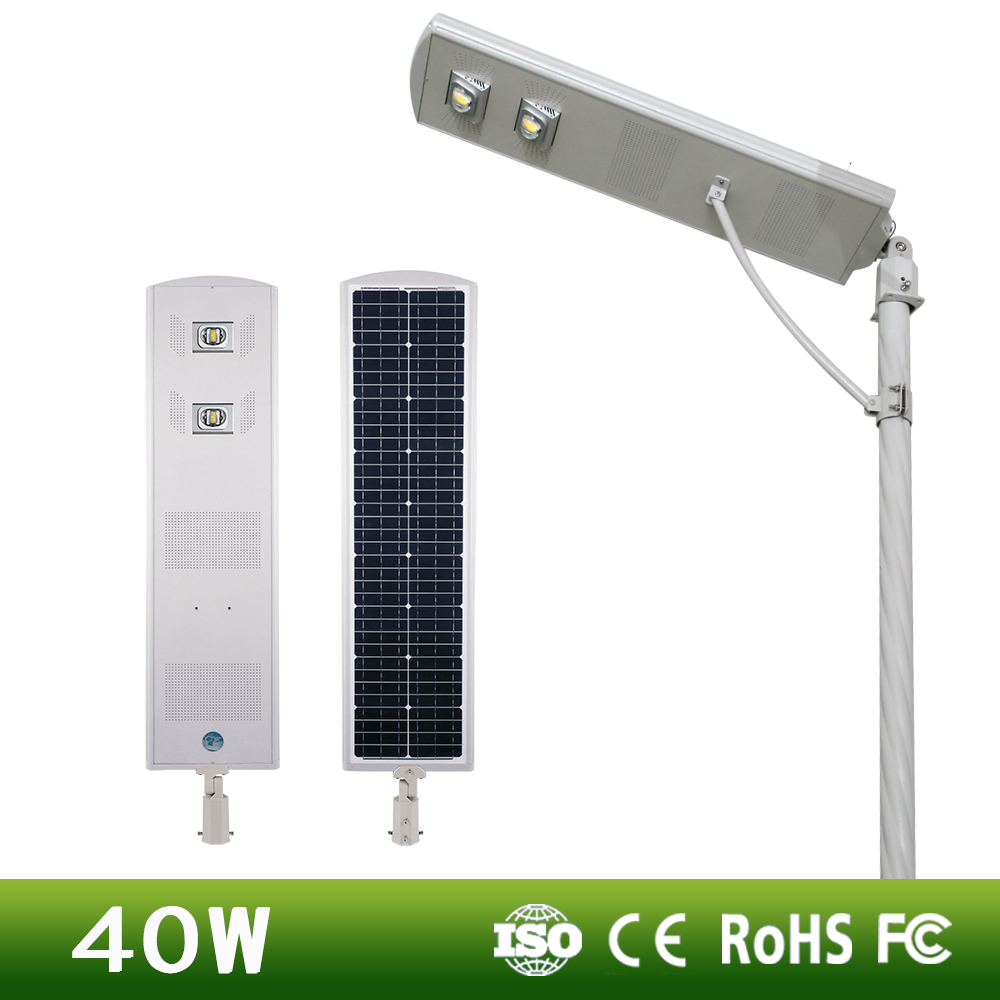 DC12.8V reliable waterproof quality new mobile intelligent 40w IP65 led solar street light solar panel monocrystalline silicon