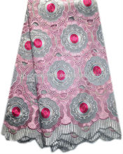2013 Latest Designer High Quality of swiss handcut lace(1223-ash grey+pink+fushia)