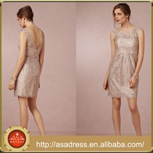 BD55 Custom Made Girl Party Dress for Maid of Honor khaki Sequined V-back Bridesmaid Dresses Short