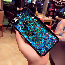 Black Colorful Moving Stars Liquid Glitter Quicksand Bling Phone Case Cover For Iphone X 6 7 8 plus Shining Star Liquid Case