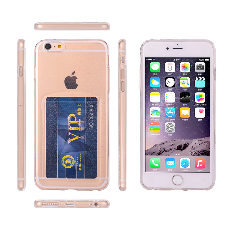 Transparent cheap price Ultra-thin wallet phone case with card slot TPU cover for iphone 6/6s case