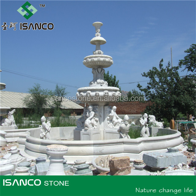 Natural Stone Carved Round Garden Water Fountains outdoor