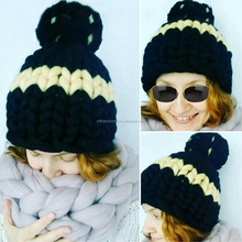 Mink Fur Ball Cap Poms Winter Beanie for Women Girl 's Mother Child Hat Knitted Beanies Thick Female Cap
