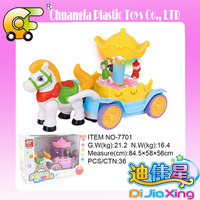 Hot toy BO carriage with light & music (rotate function)-yellow & pink