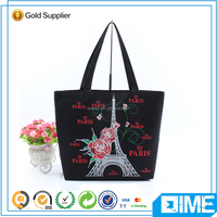 Brand designer girls' Romantic Paris cotton canvas shoulder bag