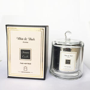 wholesale custom printed unique luxury glass empty candle jar with lid
