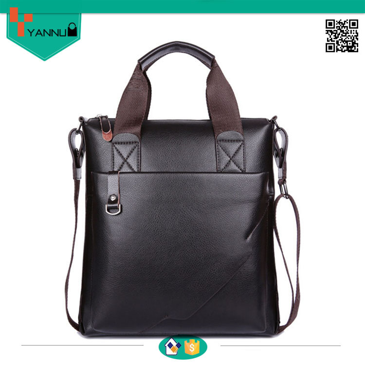 custom design contracted fashion blank cow leather handsome men handbag for wholesale high quality