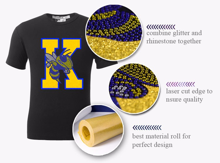 Custom DST Symbol Heat Glitter Motifs for Garment