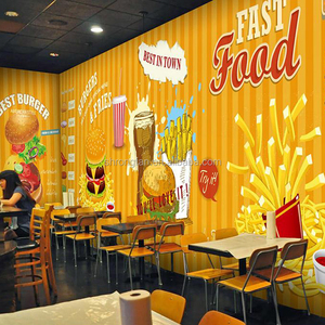 Custom Printing Vinyl Wrap Self Adhesive Wall Decoration Stickers Waterproof Pvc China Wallpaper For Restaurant