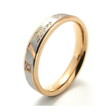 "Yiwu Meise Jewelry Mens Womens Stainless Steel Promise Ring ""I Love you"" Couples Wedding Bands"