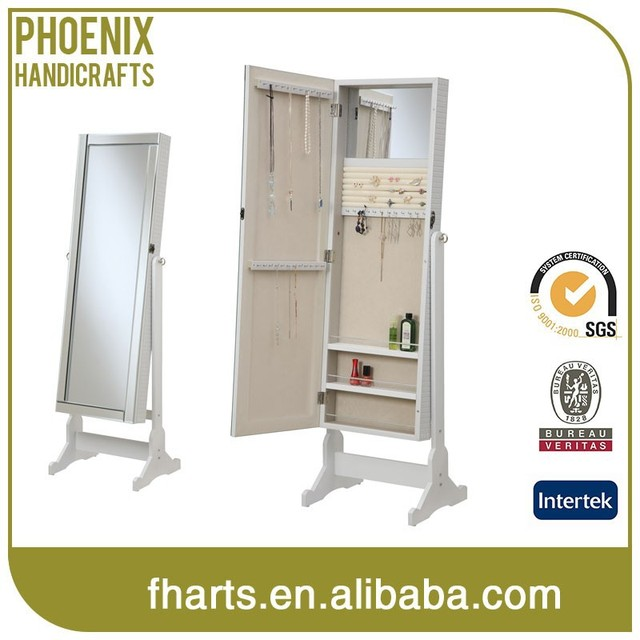 standing jewelry armoire cheval mirror with PU veneer