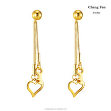 Women Jewelry Body Jewelry Gold Hanging Earrings With Heart & Key 3cm Length Gold Earrings Designs For Girls