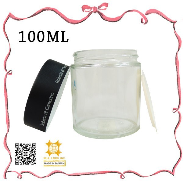 Woman's favorite 100ml black cap cylinder glass cosmetic container