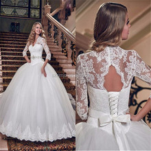 2018 New Arrival High Neck Lace Applique Vintage Wedding Dress Online Princess White Bridal Ball Gown