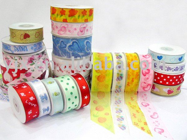 colorful ribbon with stamp used in gifts decoration and bow making