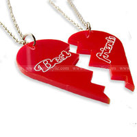 2 part engraved Acrylic heart necklace, 2 half laser cut Lucite decoration gift