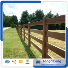 Factory Supply Types Of Wood Color 4 Rail Steel Ranch Fencing Powder Coating Steel Wooden Color Rach Fence