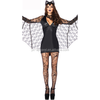 Women Sexy Animal Cosplay Black Batgirl Bat Costume Fancy Dress Halloween