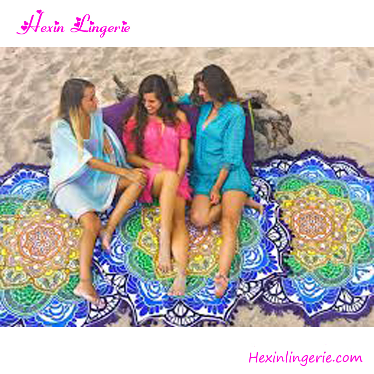 Wholesale Printed India Custom round beach towels mandala