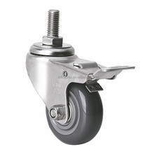"EDL Light Duty 2.5"" 70Kg Polyurethane Stainless Steel Double Bearing Castor Wheels Threaded Locking Casters Wheels for trolley"