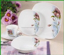 Porcelain Dinner Set / Customized Dinnerware Sets / Square Shape Plates Ceramic/Beautiful Decal Tea Coffee Cup & Saucer