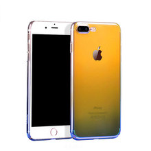 Gradient Color Clear Transparent Optical Hard PC Phone Case Cover For IPhone 6 7 8 X