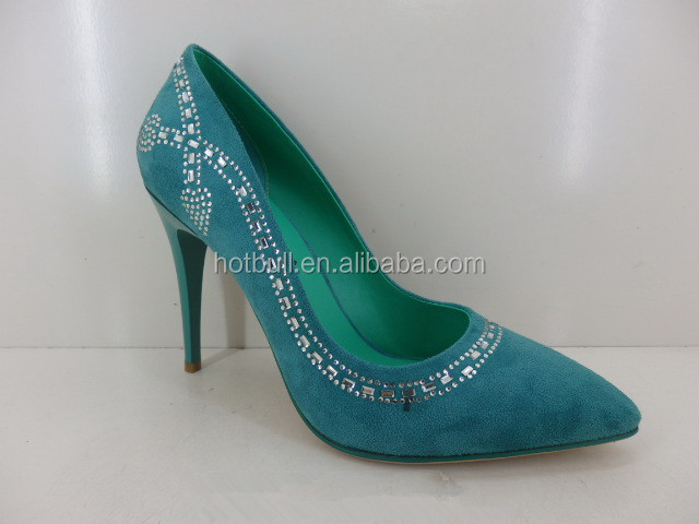 cheap price green spiked high heel shoes for ladies