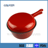 Enamel Coated cast iron saucepan with long handle