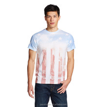 America flag sublimation print Spandex T-shirt for men