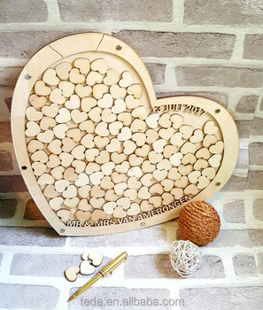 DIY Personalized Wedding Guest Book Alternative Sign-in Wooden Hearts Drop Box