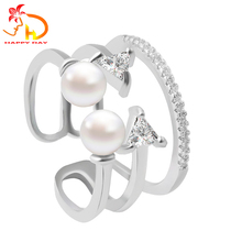 China manufacturer attractive style double pearl beautiful finger ring