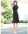 Woman's Summer sexy slim fit lace short sleeve dress maxi dress fishtail OEM supply