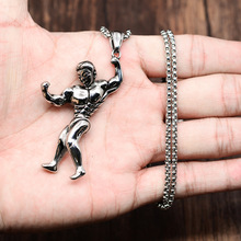 European Fashion Jewelry Men's Ancient Silver Stainless Steel GYM Body Sport Pendant Wholesale
